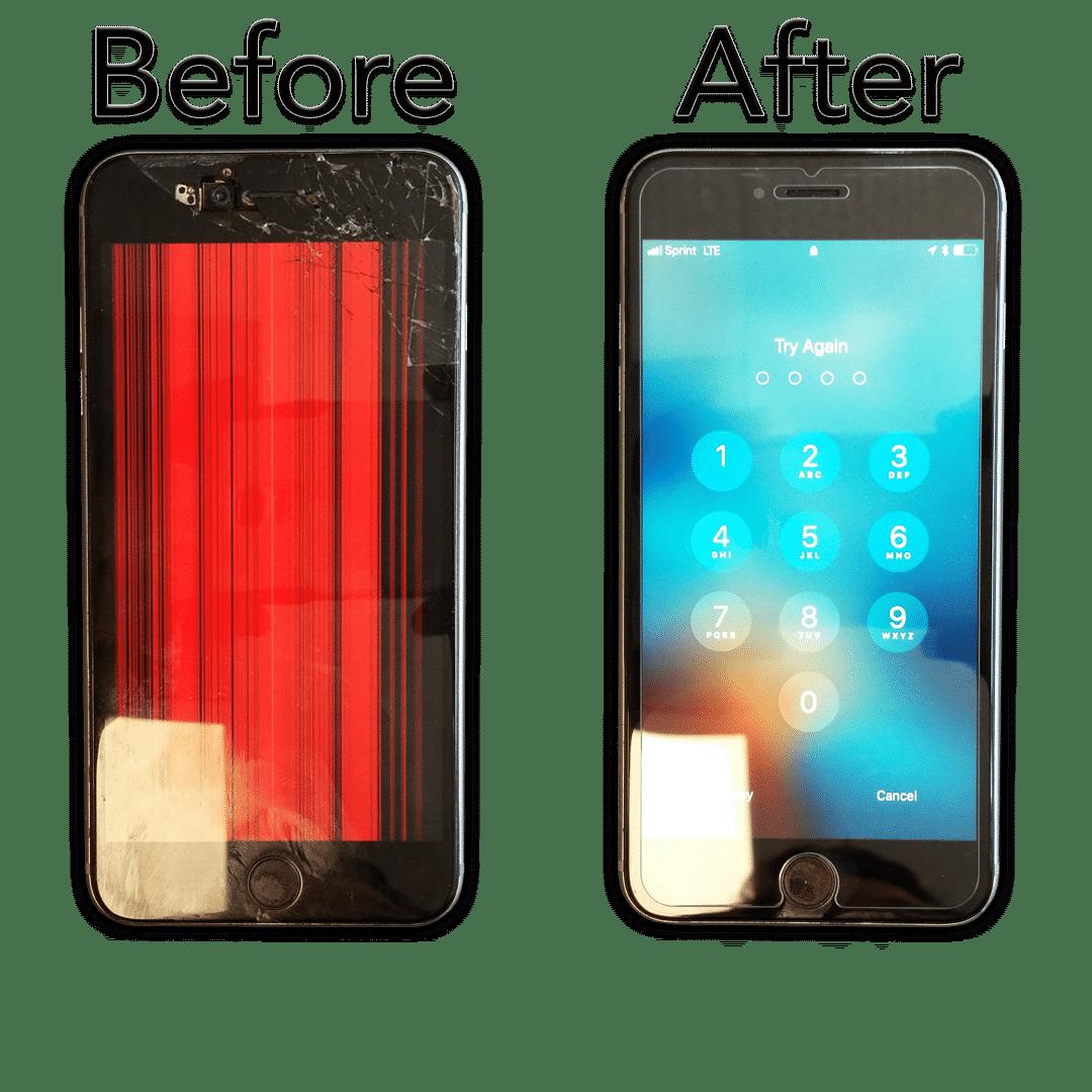 iphone repair before and after screen replacement at hotshot repair in columbia mo